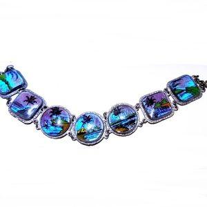 Reverse glass Spain souvenir vintage bracelet